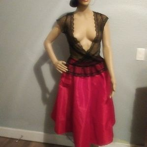 Black Blouse and Red skirt